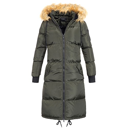 AZ Damen extra langer Wintermantel Jacke Stepp Jacke Kunstfell Kapuze S-XXL AZ20, Größe:XL / 42;Farbe:Khaki