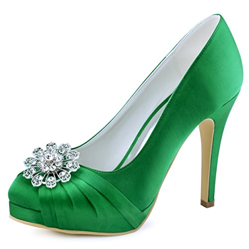 Elegantpark ep2015-pf donna pompe punta chiusa piattaforma tacco a spillo strass satin partito scarpe scarpe da sposa verde eu 38