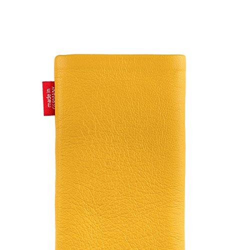 fitBAG Beat Grau Handytasche Tasche aus Echtleder Nappa mit Microfaserinnenfutter für Apple iPhone 1G Beat Zitronengelb