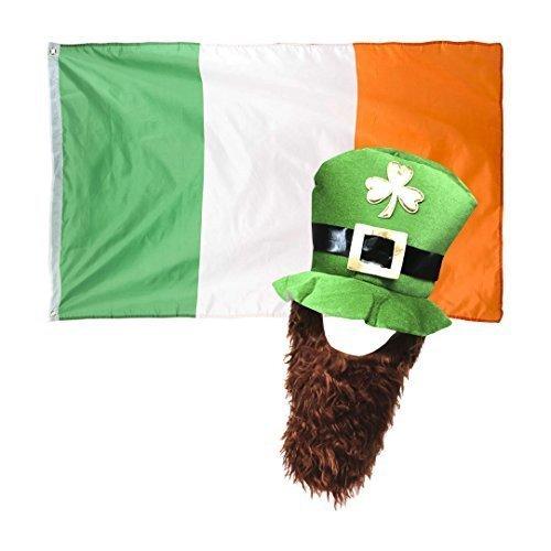 Hellgrün St Patricks Day Neuheit Kostüm Kobold Hut mit Bart & Irland Flagge (Kostüme Online Irland)
