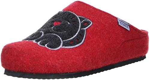 TOFEE Damen Hausschuhe Pantoffeln Naturwollfilz (Katze) Rot, Größe:39, Farbe:Rot