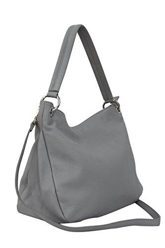 AMBRA-Moda-Damen-echt-Ledertasche-Handtasche-Schultertasche-Beutel-Shopper-Umhngtasche-GL002-Hellgrau