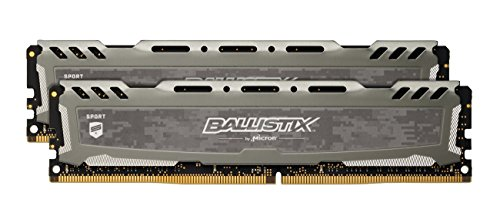 Ballistix Sport LT BLS2K8G4D240FSBK 16GB (8GB x2) Speicher Kit (DDR4, 2400 MT/s, PC4-19200, CL16, Single Rank x8, DIMM, 288-Pin) grau 2400-serie-ram