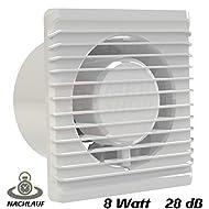 Ventilatore da bagno, Ø 125mm in bianco con timer/Avvio posticipato MKK-Planet Ventola Ventilatore Ventilatore caricamento–Ventola da parete ventola da bagno da cucina, silenzioso 12,5cm