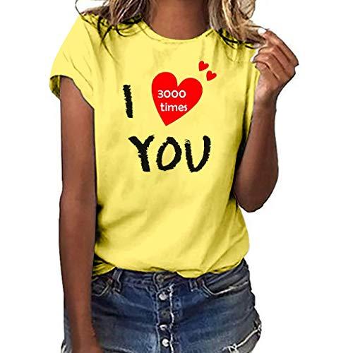 WOZOW Oberteile Tops Damen Kurzarm Solid O Ausschnitt Slogan I Love You 3000 Times for Ironman Hearts Muster Print Druck Shirts Loose Lose Geschenk Gift Blouse (S,Gelb -Damen) (Halloween Gold-box 3000)