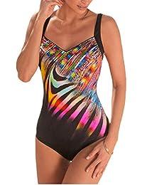 Aleumdr Femme Maillot de Bain 1 Pièce Chic Imprimé Coloré Brillant Monokini  Vintage Amincissant Taille Haute Ventre Plat Dos Nu Push Up… 7512f0119d14