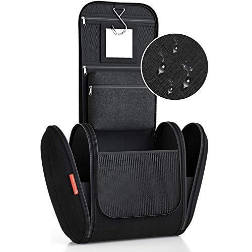 Kulturbeutel XXL [Design 2020] Kulturtasche für Männer und Frauen [7 Liter Stauraum], Kosmetiktasche für Mann und Frau, Waschtasche, Waschbeutel zum Aufhängen für Damen & Herren (schwarz)