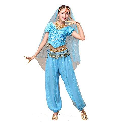 Tanz Outfits Tanzkleidung Bauchtanz Kostüm Set Stammes- Indischer Tanz Bra Top & Paillette Bauchtanz Hose Münzen light (Kostüme Chiffon Tanz)