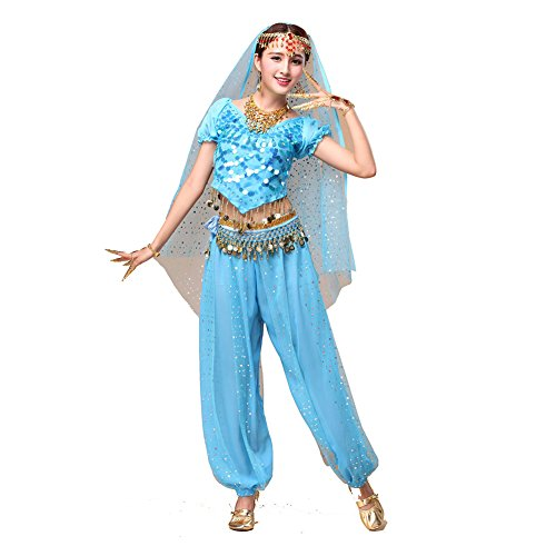 Tanz Outfits Tanzkleidung Bauchtanz Kostüm Set Stammes- Indischer Tanz Bra Top & Paillette Bauchtanz Hose Münzen light blue (Tanz Kostüme Outfit)