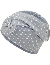 EveryHead Fiebig Berretto da Ragazza Jersey Beanie Estivo cap Cappello  Estate Bicolore Cuore Fiocco per Bambini 57e29ad4e439
