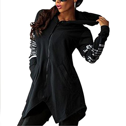 Minetom-Sweatshirt-Maniche-Lunghe-Con-Cappuccio-Donna-Cerniera-Hoody-Giacca-Bordo-Irregolare-Felpe