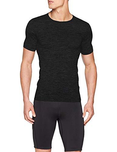 Sundried Mens Muscle Fit Compression T-Shirt Seamless Sport Gym Kleidung (schwarz, XXL)