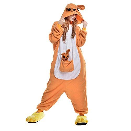 Free Fisher Damen/ Herren Schlafanzug Pyjama, Tier Kostüm, Gelb Kängurus, XL (Körpergröße 178-188 CM)