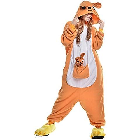 Freefisher Pijama Ropa de dormir costume Disfraz de Animal Cosplay Cartoon Franela hombre mujer canguro amarillo L