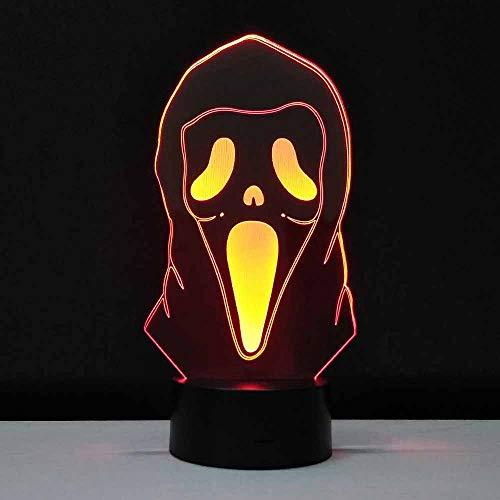 Aoyuhf Licht Der Nacht 3D Halloween Geschenk 3D Licht Ghost Face Led Nachtlicht Transparent Acryl Handwerk 7 Farbwechsel Usb Tischlampe (Halloween Ghost Handwerk)