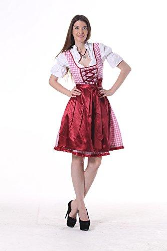 Oscartrachten, 3tlg. Dirndl-Set - Trachtenkleid, Bluse, Schürze - Dirndl midi rosa-dunkelrot, Größe: 36