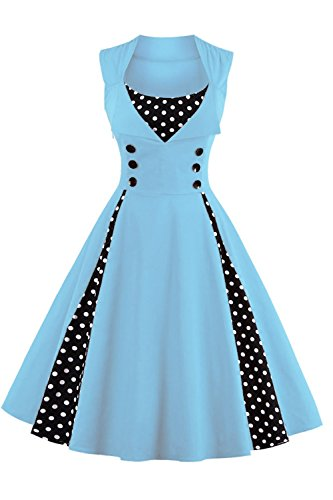 Babyonline Damen 40er 50er Vintage squard neck Swing Rockabilly Pin Up Ballkleid Brautjungfer...