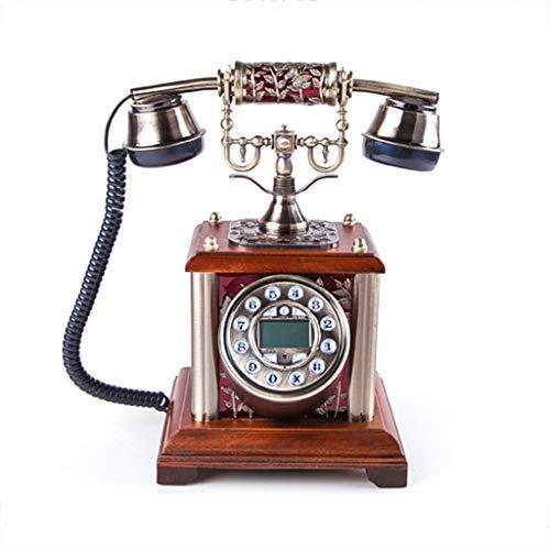 ZHAS Europäische braune Taste Anrufer-ID Elegante antike Telefon Persönlichkeit kreative Hand Geschnitzte Überzug Festnetz - Hand Geschnitzt Antik