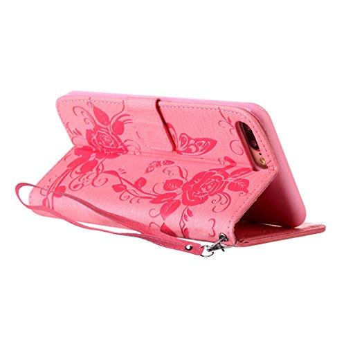 Handyhülle iPhone 7 Plus Flipcase mit Lanyard ,Moon mood® Ledertasche Brieftasche für iPhone 7Plus (5.5 Zoll) ,PU Leder Hülle Wallet Case Folio Schutzhülle Scratch Mit Diamanten Schmetterling Blume De C-Rosa