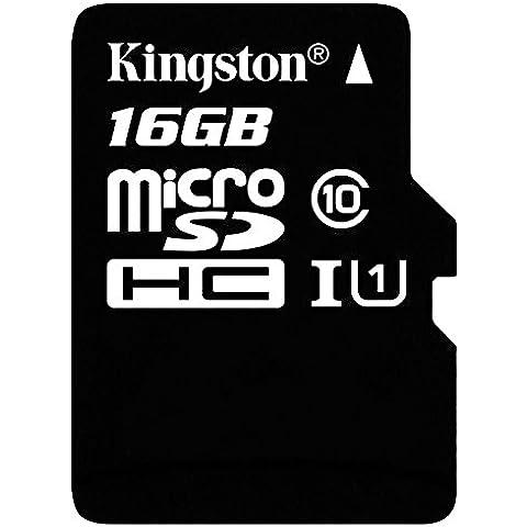 Kingston SDC10G2/16GB - Tarjeta de memoria microSD, 16 GB, clase 10 UHS-I, 45 MB/s, color negro