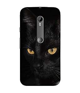 Snapdilla Designer Back Case Cover for Motorola Moto G3 :: Motorola Moto G (3rd Gen) :: Motorola Moto G3 Dual SIM (Portrait Cute Face Fur Dark Fear Nose kitty Pet)
