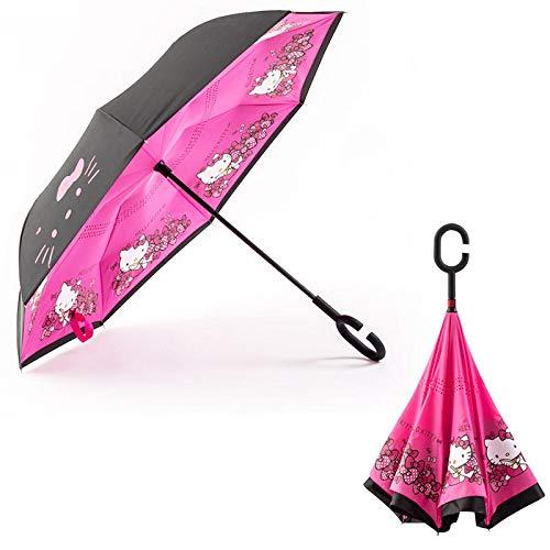 MVBGLK Auto Sonnenschirm Reverse Umbrella Auto Sternenhimmel Regenschirm Regenschirm Kirsche Regenschirm @ Kitty_23 Zoll (Kitty Mini-rucksack)