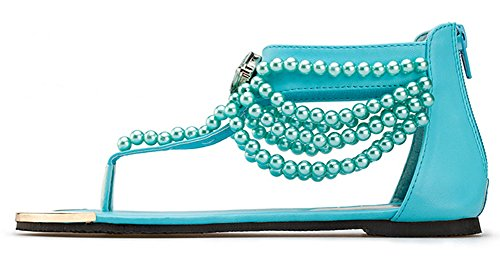 Aisun Femme Brillant Clip Toe Perles Talon Plat Sandales Bleu