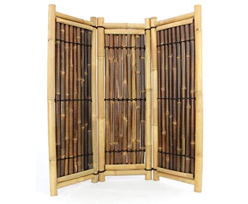Raumteiler aus Bambus 3teilig gelb schwarz mit 180x180cm, Wulung und Petung Rohre - Paravent...