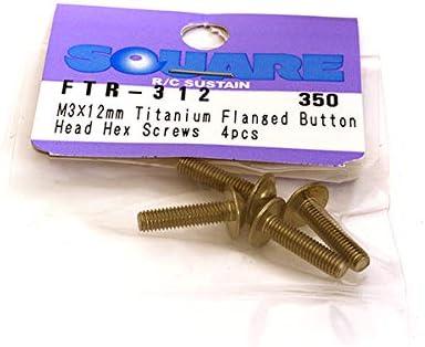 Square R/C RC Model Hop-ups SQ-FTR-312 M3 x 12mm Titanium Flanged Button Head Hex Screws (4 pcs.) | Online Shop