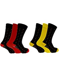 Socks Uwear Herren Socken für den Alltag Socken, Gepunktet mehrfarbig 1x Red, 1x Yellow Large