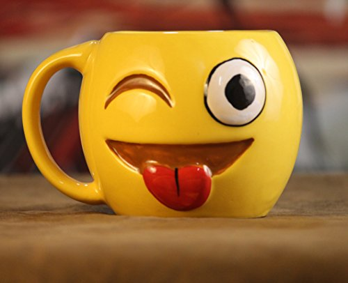 Weird Wolf Joy hand-crafted large coffee mug (350 ml) for gifting (Smiley)