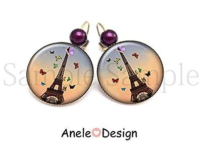 Boucles d'oreilles Paris papillons Tour Eiffel - violet marron rose rouge