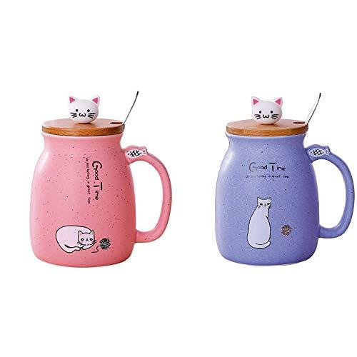 Lifemaison Cat Keramik Becher hitzebeständige Tasse mit Löffel Deckel Drinkware Kinder Geschenk mit Cartoon Katze Deckel Milch Kaffee Keramik Kinder Becher Büro Paar Tasse 420 Ml (Rot+Lila)