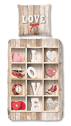 Muller Good Morning Bettwäsche 5425 Love Multi Flanell