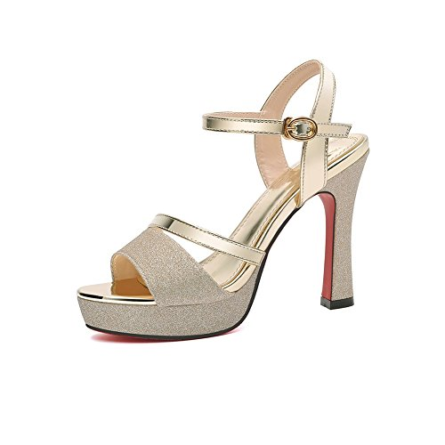 8f9c51b11efe XUERUI Court Shoes Fish Mouth Shoes Wild Fine With A Word Buckle High Heels  (Color