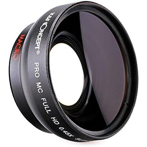 K&F Concept 58mm Objetivo para Cámara Réflex 0.45X Objetivo de Alta Definición Azul Película Revestida Lente con Gran Angular para Canon Rebel T5i T3i XTi XS T4i T2i XT SL1 T3 T1i XSi EOS 1000D