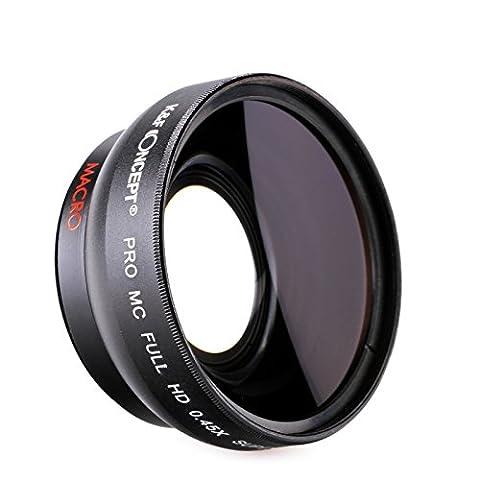 K&F Concept® 58mm Weitwinkelkonverter 58mm Weitwinkelvorsatz 58mm Weitwinkelobjektiv 58mm 0.45x Professionell HD für Canon Objektivbajonett