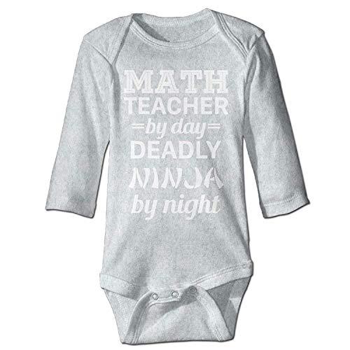 Unisex Newborn Bodysuits Math Teacher Deadly Ninja Girls Babysuit Long Sleeve Jumpsuit Sunsuit Outfit Ash