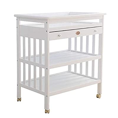 Wooden Baby Changing Diaper Bed Baby Changing Diaper Table Bath Storage Rack Baby Dressing Dressing Table Nursery Home Replacement Station (Color : White)