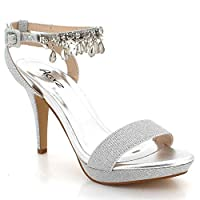 AARZ LONDON Womens Ladies Dangling Crystal Ankle-Strap Open Toe Evening Wedding Party Prom Bridal Platform High Heel Silver Sandals Shoes Size UK 6 EU 39