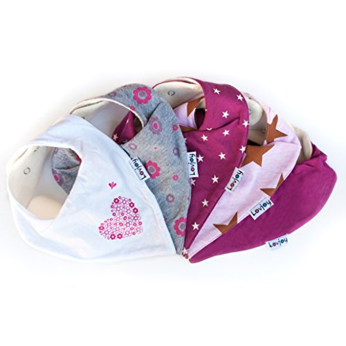 Lovjoy Bandana Baby Halstuch Lätzchen, Dreieckstucher, Für 0-3 Jahre, 5er Pack (Hübsche Rosa)