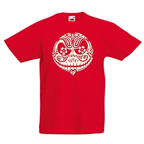 lepni.me Kinder Jungen/Mädchen T-Shirt Das Schädel-Gesicht - Der Alptraum - Gruselige Halloween-Nacht (1-2 Years Rot ()