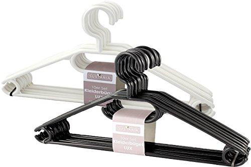 10 - 500 Stück (50, Weiß) in schwarz oder weiß Sustania Kunststoff Kleiderbügel Wäschebügel mit antirutsch Rillen, Hosensteg und Krawattenhalter und Rockaufhängekerben (10 Schwarz Weiß Und)