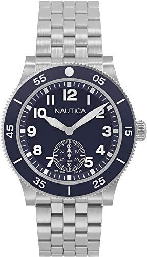 Nautica Herren Analog Quarz Uhr mit Edelstahl Armband NAPHST005 (Uhren Silber Nautica)