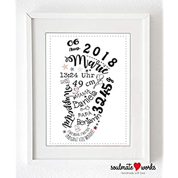 """Kunstdruck mit Baby-Daten""""Baby-Fuß"""" (nur Druck – ohne Rahmen) personalisiert mit den Geburtsdaten"""