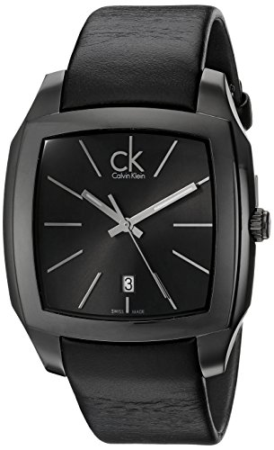 Calvin Klein Men's Quartz Watch with Black Dial Analogue Display and Black Leather Bracelet K2K21402
