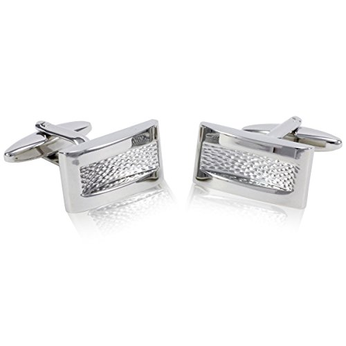 Lindenmann Cufflinks/Cuff Buttons, Silvery with Embossing, Gift Box, 10338