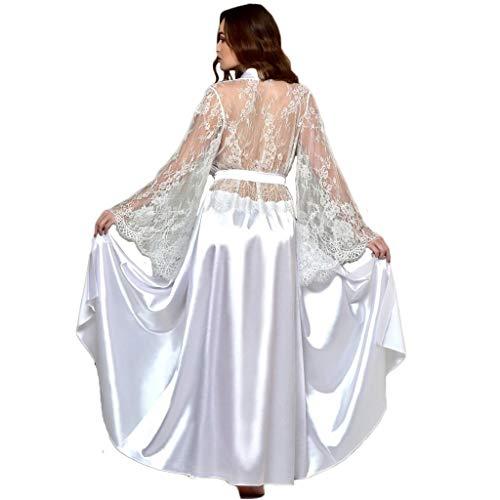 Deloito Damen Seide Kimono Nachthemd Spitze Getäfelt Bademantel Babydoll Dessous Lange Bath Robe Schlafanzug Versuchung Bar Party Unterwäsche Nachthemd (Weiß,X-Large)