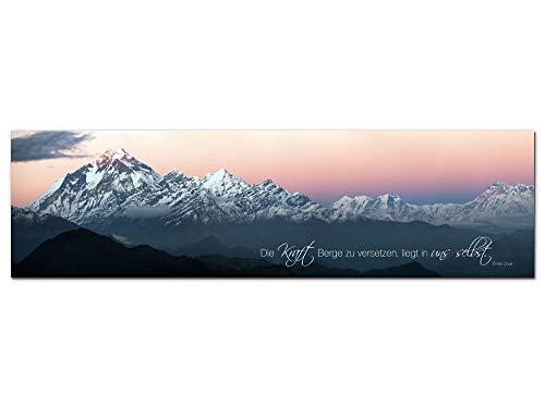 GRAZDesign Wandbilder Berge mit Spruch - Acrylglasbild Panorama Natur Landschaft - Die Kunst Berge zu versetzten Sprüche / 180x50cm / 100051_004_01_04
