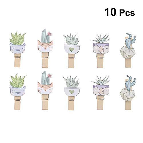 ANFLY 10 stücke Nette Kreative Praktische Kaktus Alpaka Holzklammern Foto Papier Handwerk Clips Karte Papier Heringe für Dekorieren Home Cafe Büro (Bulk-foto-papier)